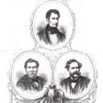 """Na zdjęciu: Bracia Evansowie: Thomas (u góry), Douglas (po lewej) i Alfred (po prawej). Rycina """"Tygodnika Ilustrowanego"""" z 2 listopada 1867 roku."""