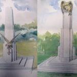 Na zdjęciu: Niezrealizowane projekty pomnika w parku im. J. Rodego. Zbiory Archiwum w Tomaszowie Maz.