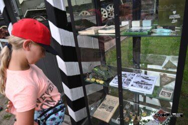 Dziewczynka stoi przed szklaną gablotką z eksponatami